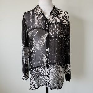 Chico's Patchwork Sheer Silk Blouse Womens Large